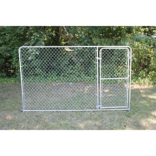 Fence Master Silver Series 10 Ft. W. x 6 Ft. H. Steel Kennel Panel with Door